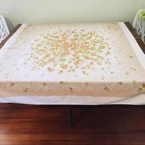 Vintage '50s Tablecloth Leaves Brown Green